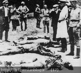 موزه ید و شم این عکس را یک مدرک جنایات نازی ها می نامد، در حقیقت، این ها سربازان شوروی، در یونیفورم شوروی می باشند.